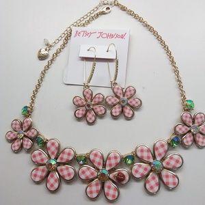 BetseyJohnson New Pink Flower & Ladybug Neck. & ER